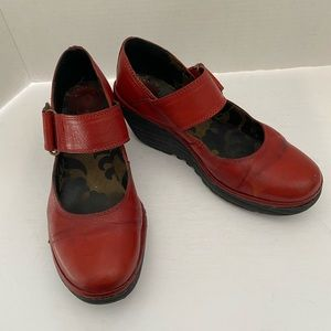 FLY LONDON RED LEATHER YAG MARY JANE WEDGES